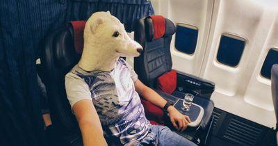 Ein Flugzeug ist wohl der schlechteste Ort um dies zu tun, trotzdem hindert ihn das nicht