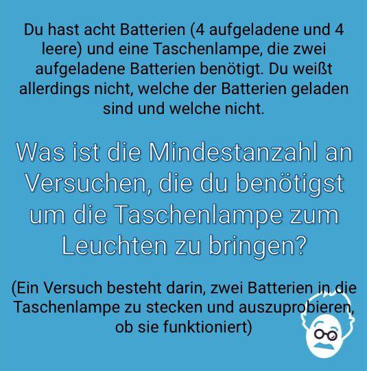 Eine Taschenlampe und acht Batterien